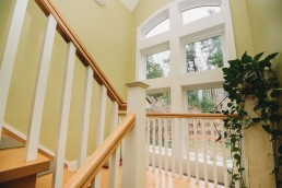 staircase with window landing